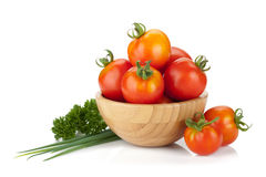 Ripe tomatoes, basil and parsley Stock Images