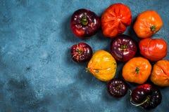 Ripe tomatoes border background stock photos