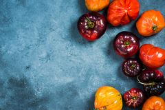 Ripe tomatoes border background royalty free stock image
