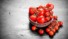 Ripe tomatoes in a bowl royalty free stock images