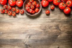Ripe tomatoes in a bowl stock photography