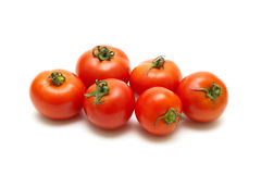 Ripe tomatoes closeup isolated on white background Stock Photography