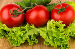 Ripe tomatoes, cucumbers and lettuce on board Royalty Free Stock Images