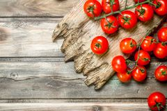 Ripe tomatoes on a cutting Board. On wooden background royalty free stock photos