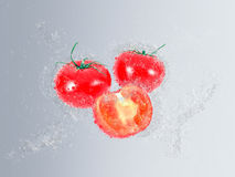 Ripe tomatoes falling into fresh clean water Royalty Free Stock Photography