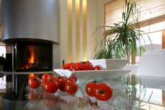 Ripe tomatoes near fireplace royalty free stock photos