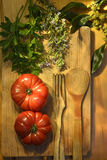 Ripe tomatoes, parsley bay leaf and rosemary vintage Royalty Free Stock Photos