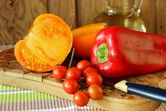 Ripe tomatoes and peppers Royalty Free Stock Images