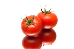 Ripe tomatoes with reflection on white background Royalty Free Stock Photo