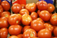 Ripe tomatoes in a supermarket Royalty Free Stock Image