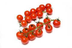 Ripe tomatoes on vines. High angle view of ripe cherry tomatoes on vines, isolated on white background Stock Photography