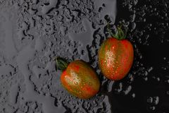 Ripe tomatoes on a wet black background. Top view Royalty Free Stock Photos