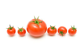 Ripe tomatoes on a white background close-up - horizontal photo. Royalty Free Stock Images