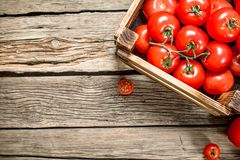 Ripe tomatoes in a wooden box. On a wooden table stock images