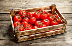 Ripe tomatoes in a wooden box. On a wooden table royalty free stock photo