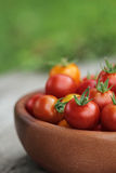 Ripe Tomatoes in a wooden plate Royalty Free Stock Photos