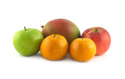 Ripe tropical fruits isolated closeup Stock Images