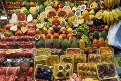 Ripe variety of fruits. On sale in the market stock image