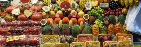 Ripe variety of fruits. On sale in the market stock photo