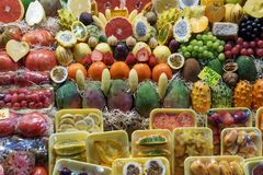 Ripe variety of fruits. On sale in the market royalty free stock image