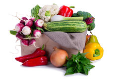 Ripe vegetables in box Stock Image