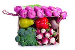 Ripe vegetables in box Royalty Free Stock Images