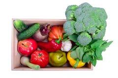 Ripe vegetables in box Stock Photos
