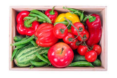 Ripe vegetables in box Royalty Free Stock Photos