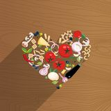 Ripe vegetables, cheeses, pasta, mushrooms and spices laid out in the shape of a heart on wooden background. Love for vector illustration