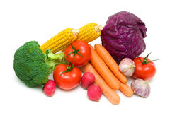 Ripe vegetables close-up - white background. Stock Images