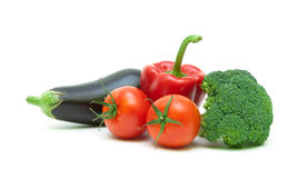 Ripe vegetables isolated on white background close-up Royalty Free Stock Photos