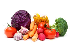 Ripe vegetables isolated on white background close up. Stock Photography