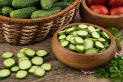 Ripe vegetables on an old wooden table. Stock Photography