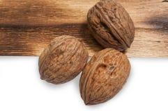 Ripe walnut. Three nice walnut on white background Royalty Free Stock Photo