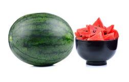 Ripe water melon on white background. Ripe water melon isolated on white background Royalty Free Stock Photos