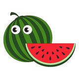 Ripe watermelon cartoon. Outlined character with black stroke Royalty Free Stock Images