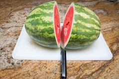 Ripe Watermelon. Fresh ripe whole red and green watermelon Royalty Free Stock Photos