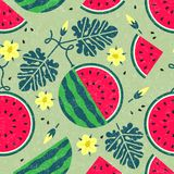 Ripe watermelon seamless pattern. Black currant with leaves and flowers on shabby background. Original simple flat illustration. Shabby style vector illustration