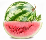 Ripe watermelon with a slice Royalty Free Stock Photos