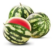 Ripe watermelon three quarters, two whole stock image
