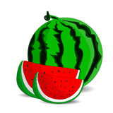 Ripe watermelon and two juicy red slices, cartoon on a white background. Royalty Free Stock Images