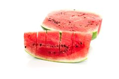 Ripe watermelon on a white background Stock Image