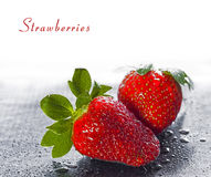 Ripe wet strawberries Royalty Free Stock Photos