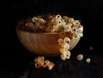 Ripe white currant berries. In a bowl close up Stock Photos