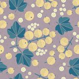 Ripe white currant seamless pattern. White currant with leaves and flowers on shabby background. Original simple flat illustration. Shabby style stock illustration