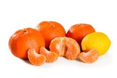 Free Ripe Whole And Peeled Mandarin And Lemon Citrus Fruit Isolated On White Background Macro Close-up Stock Images - 180795004