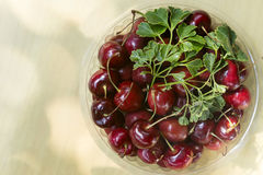 Ripe Whole Cherries On Wooden Table. Sweet Cherry In Bowl On Wooden Table Stock Photography