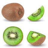 Ripe whole kiwi fruit and half kiwi fruit isolated on white background Stock Image