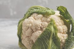 Ripe whole raw cauliflower on a light background on a napkin. Royalty Free Stock Photography