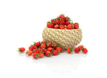 Ripe wild strawberry  on a white background with reflect Stock Photo